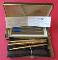 Boîte 3 Stylos Cross Plaqués OR 1/20 14 KT Rolled Gold 2 Critériums Porte-mine 1 Stylo Encre Made In Ireland FINE - Pens