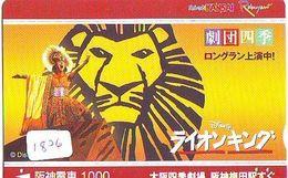 Carte Prépayée Japon * DISNEY  (1826)  LION KING * FILM * CINEMA * MOVIE * PREPAID CARD JAPAN * - Disney