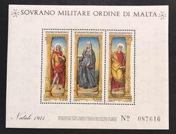 Sovrano Militare Ordine Di Malta SMOM  Foglietto Natale 1971 Nuovi Perfetti ** - Malta (Orde Van)