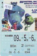 Carte Prépayée Japon (1828) DISNEY JAPAN * PREPAID CARD *  MONSTERS * 800 Yen * 2 Daypass * CINEMA * FILM - Disney