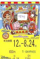 Carte Prépayée Japon (1829) DISNEY JAPAN * PREPAID CARD *  TOY STORY * 650 Yen * 1 Daypass * CINEMA * FILM - Disney