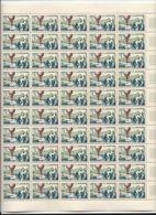 Feuille Complète De 50 Timbres Du N°1018 Journée Du Timbre 1955. - Volledige Vellen