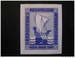 Paris 1937 Exposition Philatelique Int PEXIP Ship - Commemorative Labels