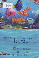Carte Prépayée Japon * DISNEY (1839) RESORT LINE * NEMO * SEARIDER  * ADULTE 1 DAY PASSPORT * JAPAN * MICKEY MOUSE - Disney
