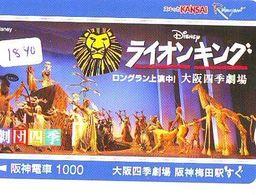 Carte Prépayée Japon * DISNEY (1840) THE LION KING * JAPAN * CINEMA * FILM - Disney
