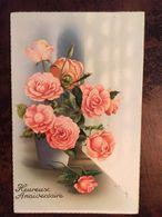 Cp Heureux Anniversaire (relief), Illustrateur C.Vivej, Signée, Bouquet De Roses, éd Univers Paris N°422, écrite - Anniversaire