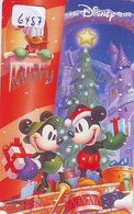 Télécarte Japon * 110-203503 * DISNEY STORE * NOEL (6487) MICKEY DONALD TAMBOUR * CHRISTMAS 1998 Japan Phonecard - Disney