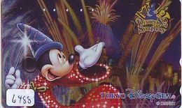 Télécarte Dorée Métal Japon * MF-1001852 * DISNEY SEA Mickey (6488) Film Fantasia * Japan GOLD Phonecard - Disney