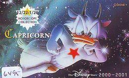 RARE * Télécarte Japon * DISNEY STORE  110-212337 * Zodiaque (6495) CAPRICORNE Picsou Uncle Scroodge Japan HOROSCOPE PC - Disney