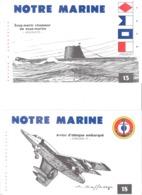 """NOTRE MARINE- LOT DE 6 BUVARDS -AVION D'ATTAQUE EMBARQUE """"ETENDARD IV""""-SOUS MARIN CHASSEUR DE SOUS MARINS """"ARGONAUTE"""" - Papel Secante"""