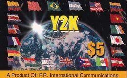 PUERTO RICO - Flags, Y2K By P.R.Internatonal Prepaid Card $5, Used - Puerto Rico