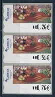 Espagne - Spain - Spanien Distributeur 2004 Y&T N°D87 - Michel N°ATM87 *** - Nature Morte Avec Légumes - 3 Timbres - Poststempel - Freistempel