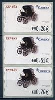 Espagne - Spain - Spanien Distributeur 2004 Y&T N°D90 - Michel N°ATM90 *** - Calèche Spider 1705 - 3 Timbres - Poststempel - Freistempel