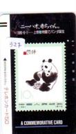 Télécarte Japon *  FRONT BAR * 330-2321 * PANDA + Petit Sur TIMBRE * Stamp On Phonecard (327)  Timbre Sur Télécarte * - Stamps & Coins