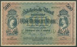 Sächsische Bank Zu Dresden 500 Mark 1922, Ro 748 A Leicht Gebraucht (K232) - Germania