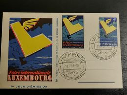 Foire Internationale Luxembourg, 1er Jour D'émission 1954 - Postwaardestukken
