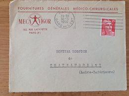 PARIS GARE DE L'EST - 30 Mars 1950 - Mecavigo Fournitures Médico-chirurgicales - SUR DEVANT - Mechanical Postmarks (Other)