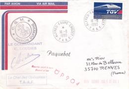FRANCE -TAAF -  Lettre Par Avion - Base Alfred Faure Pour Rennes - Timbre YT2607- TGV - Cachet Marion Dufresne Obl 1990 - Briefe U. Dokumente