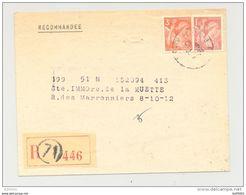 Lettre Recommandée - Oblitération Paris R71 - 1945 - Timbres Type Iris - Marcophilie (Lettres)