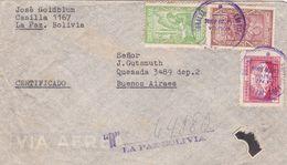 BOLIVIE ENVELOPPE COMMERCIAL, CIRCULEE LA PAZ A BUENOS AIRES, ARGENTINE CIRCA 1945's PAR AVION RECOMMANDE -LILHU - Bolivia
