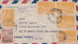 """BOLIVIE ENVELOPPE COMMERCIAL """"COMPAÑIA INTERNACIONAL DE RADIO BOLIVIANA"""" CIRCULEE LA PAZ A BUENOS AIRES 1954 -LILHU - Bolivia"""