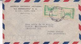 """BOLIVIE ENVELOPPE COMMERCIAL """"SOCIEDAD INDUSTRIAL AZUCARERA, LA ESPERANZA"""" CIRCULEE LA PAZ A BUENOS AIRES 1952 -LILHU - Bolivia"""