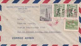"""BOLIVIE ENVELOPPE COMMERCIAL """"COMPAÑIA INTERNACIONAL DE RADIO BOLIVIANA"""" CIRCULEE LA PAZ A BUENOS AIRES 1955 -LILHU - Bolivia"""