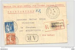 Lettre Recommandée AR - Oblitération Luxeuil Les Bains Et Aillevillers Avec Marque AR - 1936 - Type Semeuse Et Paix - Postmark Collection (Covers)