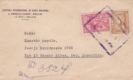 BOLIVIE ENVELOPPE COMMERCIAL COMPAÑIA INTERNACIONAL DE RADIO BOLIVIANA. CIRCULEE LA PAZ A BUENOS AIRES CIRCA 1950 -LILHU - Bolivia