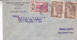 """BOLIVIE ENVELOPPE COMMERCIAL """"DIRECCION GENERAL DE MINAS Y PETROLEOS"""" CIRCULEE LA PAZ A BUENOS AIRES 1944 -LILHU - Bolivia"""