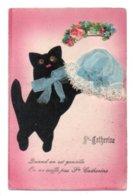 (chats) 368, Sainte Sainte Catherine, Bonnet En Feutre Noir Et Découpis - Chats