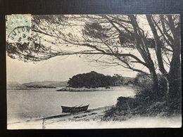 CPA PORQUEROLLES PLAGE D'ARGENT ( 83 VAR) ANIMEE BATEAU CLICHE F DUCE CACHET 1906 - Porquerolles