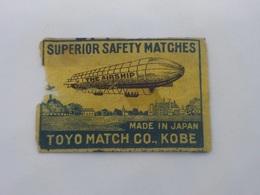 "F41) Papier Etiquette Allumettes ""zeppelin"" Tokyo Match Co, Kobe  Labe The Airship (worn And Damaged In One Side 5x3,5cm - Boites D'allumettes - Etiquettes"