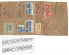 GANDON 15FR BLEUX5 GRAND FRAGMENT LETTRE REC  PARIS 1952 POUR USA TAXE 10C+5C + DOUANE TARIF ECHANTILLON 6EME - 1945-54 Marianne Of Gandon