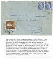GANDON 15FR BLEU PAIRE LETTRE ALLEVARD ISERE 1951 POUR ESPGANE TAXE POSTE RESTANTE 5C - 1945-54 Marianne Of Gandon