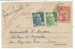 GANDON 2FR+3FR SUR DEVANT CARTE PNEUMATIQUE TELEGRAPHE 3FR COURBEVOIE 1949 POUR PACY EURE  + MENTION HORS LIMITE - 1945-54 Marianne Of Gandon
