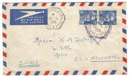 GANDON 15FR BLEU PAIRE C. HEX PERLE CROISEUR ECOLE JEANNE D'ARC 23.5.1953 POUR SUISSE - 1945-54 Marianne De Gandon