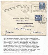 GANDON 15FR BLEU SEUL LETTRE PARIS VIII 1952 POUR PARIS REEXP EN SUISSE AVEC 15FR GANDON BLEU PARIS 54 - 1945-54 Marianne Of Gandon