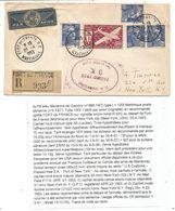 GANDON 15FR BLEU X4 MIXTE PA 100FR FRANCE LIBRE MARTINIQUE LETTRE REC AVION FORT DE FRANCE 20.4.1953 POUR USA - 1945-54 Marianne De Gandon