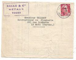 GANDON 1FR50 PERFORE BC BRIAU CIE LETTRE TOURS INDRE ET LOIRE 4.5.1945 TARIF FACTURE - 1945-54 Marianne De Gandon