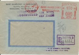 Poland Registered Air Mail Cover With Meter Cancel Warszawa 23-7-1953 - 1944-.... Republic