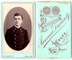 DURANTY CDV Photo Militaire     Melun  Belle Illustration Au Verso - Photographs