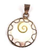 Ezüst (Ag) és Porcelán Medál, Kis Mázhibával D: 2,1 Cm - Jewels & Clocks