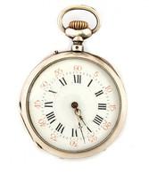 Ezüst(Ag) Zsebóra, Jelzett, Egyik Mutatója Cserélt, Nem Jár, D: 5 Cm, Bruttó: 96,2 G - Jewels & Clocks