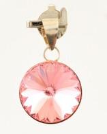 Ezüst(Ag) Medál Rózsaszín Kővel, Jelzett, D: 1 Cm, Bruttó: 1 G - Jewels & Clocks
