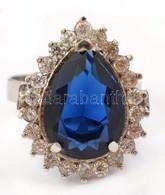 Ezüst(Ag) Gyűrű, Kék Kővel, Jelzett, Méret: 54, Bruttó: 3,98 G - Jewels & Clocks