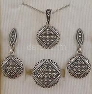 Ezüst(Ag) Markazit Kövekkel Díszített ékszerszett, Nyaklánc Medállal, Fülbevalóval, Gyűrűvel, Méret: 57, Bruttó: 16,2 G - Jewels & Clocks