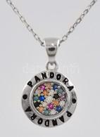 Ezüst(Ag) Nyaklánc, Apró Kövekkel Díszített Medállal, Pandora Jelzéssel, H: 49 Cm, Bruttó: 2,2 G - Jewels & Clocks