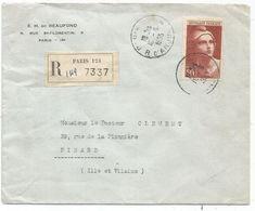 GANDON 50FR N°732 SEUL LETTRE PARIS 10.8.1955 AU TARIF - 1945-54 Maríanne De Gandon
