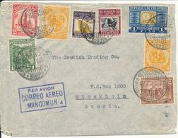 Colombia Multi Franked Air Mail Cover Sent To Sweden 1935 (the Cover Is Opened On 3 Sides) - Colombia